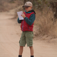 Kellen doing his first tracking evaluation at Djuma, 2014